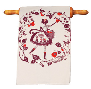 Precious Tea Towel in Picking Apples for Pie