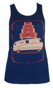 Navy blue red white camper motorhome travel print racerback tank top