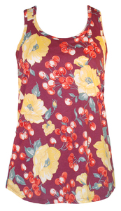 Plum purple yellow red cherry floral print racerback tank top