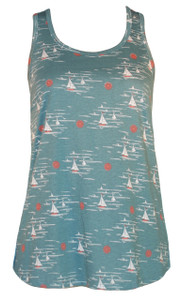 Aqua white red nautical sailboat print racerback tank top