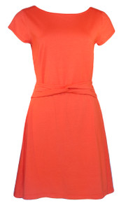 Bright persimmon orange solid twist belt knit dress