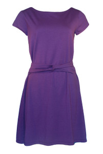 Dark purple solid twist belt cotton modal knit dress