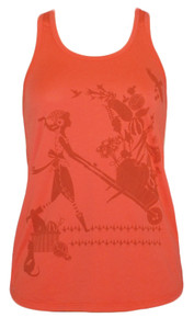 Bright orange farmer girl print racerback tank
