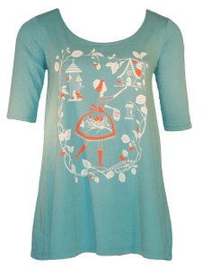 Aqua blue white red Snow White birdhouse girl graphic tee top