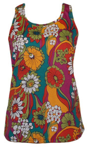 Red pink green yellow orange 70s print psychedelic floral racerback tank top