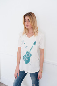 Off white teal green guitar bird print vneck tee top tshirt