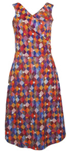 Geometric Harlequin Diamond Print Sleeveless Surplice Wrap Dress