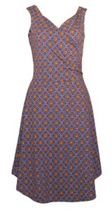 Red yellow blue small Dutch calico floral print surplice wrap dress