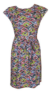Multi colored grey pink yellow green paisley ethnic print knit belted tunic dress