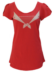 Bright strawberry red trompe l'oeil scoopneck sailor tee top