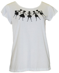 White black paper dolls girls print cropped cotton tee tshirt