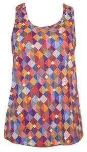 Ladies geometric multi colored harlequin print racerback tank