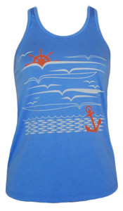 women's periwinkle blue nautical ocean anchor print racerback tank top