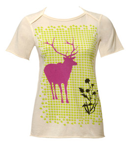 Off white elk deer houndstooth animal print cotton tshirt top