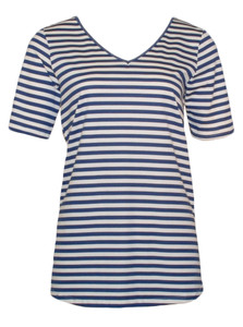 Navy blue white striped cotton v-neck tee tshirt top