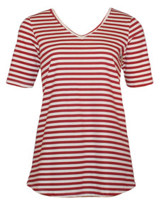 Red white striped cotton v-neck tee tshirt top