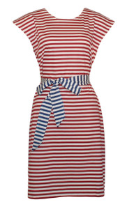 Women's red white blue cotton striped belted tunic dress