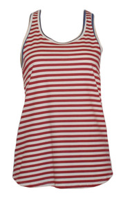 women's red white navy striped cotton racerback tank top