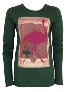 Womens dark green ostrich print long sleeve cotton tee top