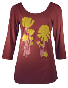 Chocolate brown desert succulent plant print scoopneck tshirt top