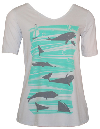Women 's light gray green whale print cotton  t-shirt top clothing