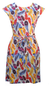 Womens grey yellow blue red feather print belted tunic