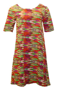Red pink yellow ethnic print cotton blend dress