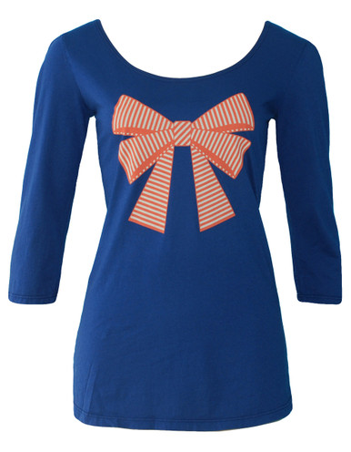 Navy scoop neck ballet top with orange and white trompe l'oeil striped bow print