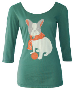Dark pine green white gray orange Boston terrier dog print scoop neck 3/4 sleeve cotton tee