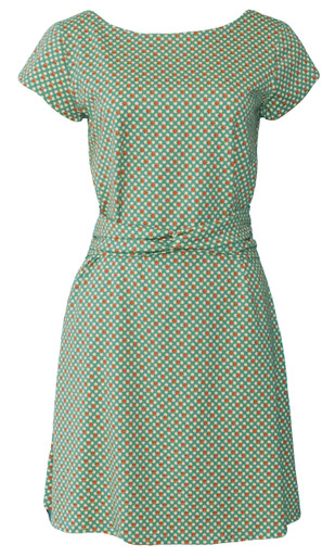 Green rust twinkle twist geometric dot print twist belt dress