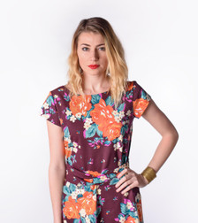 Purple blue orange vintage floral dress