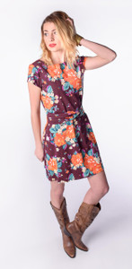 Plum orange rose flower print knit dress