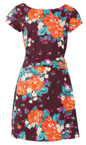 Plum romantic rose garden floral print dress