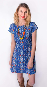 Blue red white sparrow birdcage print twist belt dress