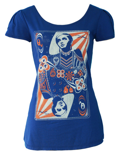 Navy white red Twiggy queen playing card print tee