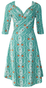 Jade green orange geometric birdcage girl print wrap dress