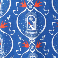 Bright blue red white birdcage sparrow girl print knit fabric
