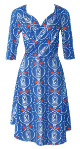 Bright blue birdcage surplice wrap dress