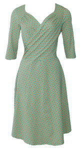 Green orange geo print surplice wrap knit dress