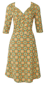 Burnt orange yellow turquoise geo tile print wrap dress
