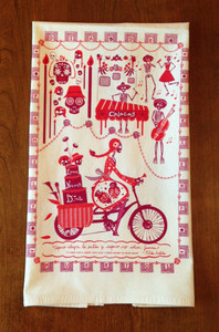 Off-white cotton towel with eco-friendly  Dia de los Muertos print