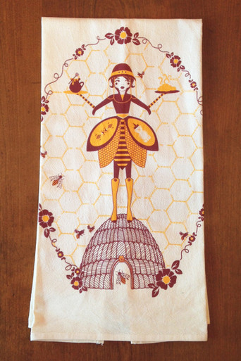 Off-white cotton towel with eco-friendly Beekeeper print