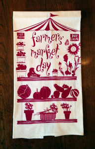White and plum farmers market fruit vegetable print cotton towel