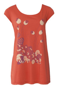 Rust Orange Plum Creme Red Panda Animal Print Scoop Neck Tee
