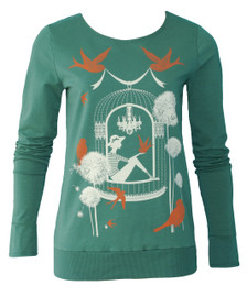 Emerald Birdcage Sparrow Floral Print French Terry Sweatshirt