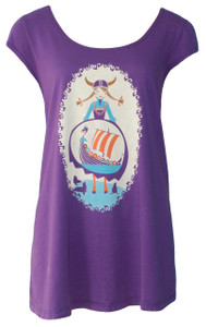 Royal purple blue red viking print cap-sleeved graphic swing top