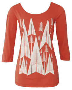 Geometric pine tree print burnt orange tee