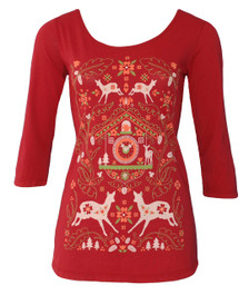 Dark red women's Edelweiss holiday cuckoo clock deer tshirt