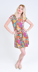 Garden of Eden Pucci vintage print multi color floral twist belt dress