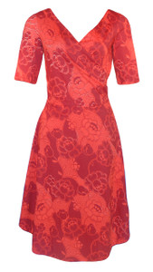 Red floral valentine print sleeved surplice dress